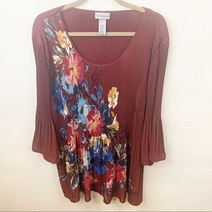 Catherine's l Burgundy Floral Bell Sleeve Blouse